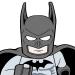 Lego Batman running as fast as a minifig can.