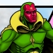 Angled floating shot of the Vision (Marvel Comics).