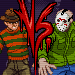 Fake screenshots of a 2-D fighting game filled with horror movie characters.